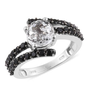 XIA Kunzite, Thai Black Spinel Platinum Over Sterling Silver Bypass Ring (Size 7.0) TGW 3.90 cts.