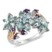 Mint Apatite, Amethyst 14K YG and Platinum Over Sterling Silver Floral Ring (Size 7.0) TGW 2.76 cts.