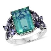 Peacock Quartz, Catalina Iolite Platinum Over Sterling Silver Ring (Size 6.0) TGW 10.42 cts.
