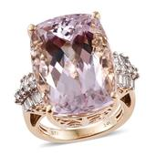 14K YG Urukun Kunzite, Diamond Ring (Size 8.0) TDiaWt 0.71 cts, TGW 31.61 cts.