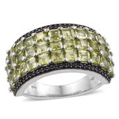Arizona Peridot, Thai Black Spinel Platinum Over Sterling Silver Ring (Size 7.0) TGW 6.25 cts.