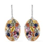 Multi Sapphire 14K YG and Platinum Over Sterling Silver Cluster Lever Back Earrings TGW 7.010 Cts.