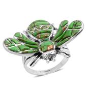Santa Fe Style Mojave Green Turquoise Sterling Silver Ring (Size 7.0) TGW 4.650 cts.