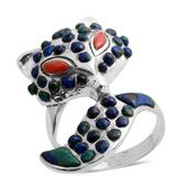 Santa Fe Style Aurora Azurite, Spiny Oyster Shell Red Sterling Silver Ring (Size 8.0) TGW 4.051 cts.