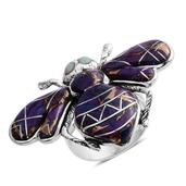 Santa Fe Style Mojave Purple Turquoise, Lab Created Opal Sterling Silver Bumble Bee Ring (Size 8.0) TGW 2.351 cts.