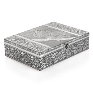 TLV Handcrafted 2 Tier Oxidized Owl Jewelry Box (11x3x8 in)