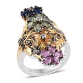 Multi Sapphire, Cambodian Zircon 14K YG and Platinum Over Sterling Silver Elongated Floral Ring (Size 9.0) TGW 5.11 cts.