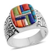 Santa Fe Style Multi Gemstone Sterling Silver Men's Ring (Size 12.0) TGW 0.903 cts.