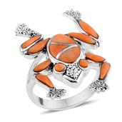 Santa Fe Style Spiny Oyster Shell Orange Sterling Silver Ring (Size 8.0) TGW 0.001 cts.