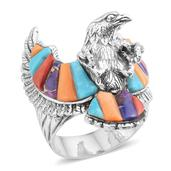 Santa Fe Style Multi Gemstone Sterling Silver Eagle Men's Ring (Size 11.0) TGW 8.281 cts.