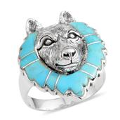 Santa Fe Style Mojave Blue Turquoise Sterling Silver Wolf Head Ring (Size 11.0) TGW 3.650 cts.
