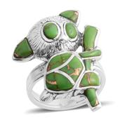 Santa Fe Style Mojave Green Turquoise Sterling Silver Climbing Koala Ring (Size 7.0) TGW 6.120 cts.