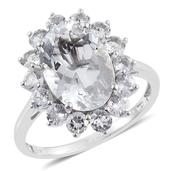 Petalite, White Topaz Platinum Over Sterling Silver Ring (Size 6.0) TGW 6.78 cts.