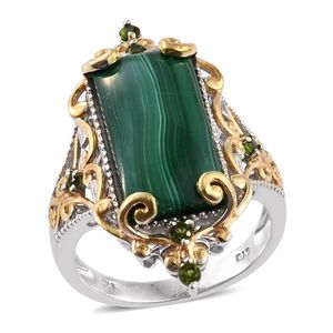 African Malachite, Russian Diopside 14K YG and Platinum Over Sterling Silver Elongated Ring (Size 9.0) TGW 17.090 cts.