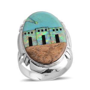 Santa Fe Style Lab Created Opal, Multi Gemstone Sterling Silver Village Ring (Size 9.0) TGW 30.350 cts.