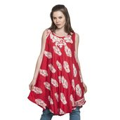 Coral 100% Viscose Printed Dress with Embroidered Neckline
