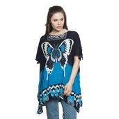 Navy Blue Butterfly Pattern 100% Viscose Rayon Caftan (Free Size)