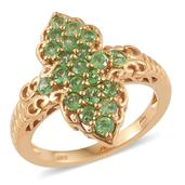 Tsavorite Garnet 14K YG Over Sterling Silver Elongated Ring (Size 5.0) TGW 1.73 cts.
