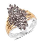 Color Change Garnet 14K YG and Platinum Over Sterling Silver Ring (Size 5.0) TGW 2.23 cts.