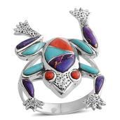 Santa Fe Style Multi Gemstone Sterling Silver Frog Ring (Size 6.0) TGW 2.001 cts.