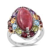Norwegian Thulite, Multi Gemstone 14K YG and Platinum Over Sterling Silver Ring (Size 9.0) TGW 15.26 cts.