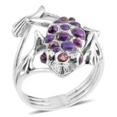 Santa Fe Style Mojave Purple Turquoise Sterling Silver Turtle Toad Ring (Size 7.0) TGW 0.001 cts.