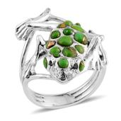 Santa Fe Style Mojave Green Turquoise Sterling Silver Ring (Size 10.0) TGW 0.001 cts.