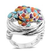 Santa Fe Style Mojave Purple Turquoise, Multi Gemstone Sterling Silver Ring (Size 7.0) TGW 3.102 cts.