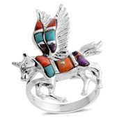 Santa Fe Style Multi Gemstone Sterling Silver Unicorn Split Ring (Size 8.0) TGW 1.90 cts.