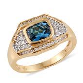 Karen's Fabulous Finds London Blue Topaz, White Zircon 14K YG Over Sterling Silver Men's Ring (Size 13.0) TGW 3.620 cts.