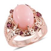 Peruvian Pink Opal, Orissa Rhodolite Garnet 14K RG Over Sterling Silver Split Ring (Size 7.0) TGW 8.95 cts.
