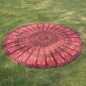 Home Textiles Maroon 100% Cotton Mandala Beach Mat