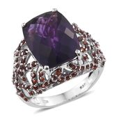 Karen's Fabulous Finds Amethyst, Mozambique Garnet Platinum Over Sterling Silver Ring (Size 9.0) Total Gem Stone Weight 13.65 Carat