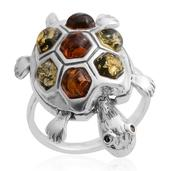 Multi-Wear Baltic Amber, Mayan Green Amber Sterling Silver Moving Turtle Pendant Ring (Size 9.5)