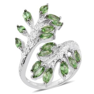 Tsavorite Garnet Platinum Over Sterling Silver Elongated Bypass Ring (Size 6.0) TGW 2.960 cts.
