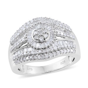 Diamond Platinum Over Sterling Silver Ring (Size 5.0) TDiaWt 1.00 cts, TGW 1.00 cts.