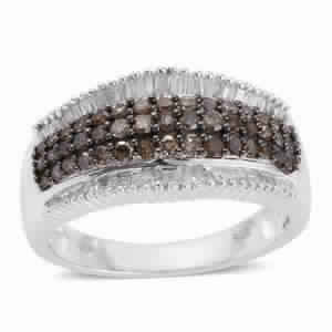 Champagne Diamond, Diamond Platinum Over Sterling Silver Ring (Size 6.0) TDiaWt 1.00 cts, TGW 1.00 cts.
