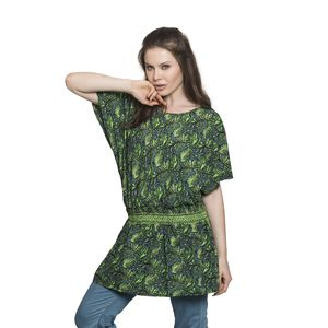 Screen Printed Green Paisley Print 100% Polyester Scoop Neck, Cold Shoulder, Elastic Waistband Plated Tunic (Free Size)