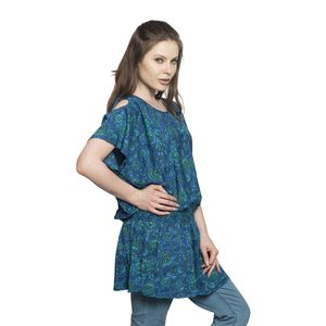 Screen Printed Peacock Color Paisley Print 100% Polyester Scoop Neck, Cold Shoulder, Elastic Waistband Plated Tunic (Free Size)
