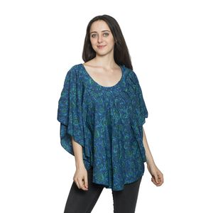 Screen Printed 100% Polyester Royal Blue Floral Poncho (One Size Fits All)
