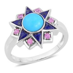 Arizona Sleeping Beauty Turquoise, Lapis Lazuli, Madagascar Pink Sapphire Sterling Silver Ring (Size 9.0) TGW 1.81 cts.