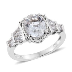 Petalite, White Topaz Platinum Over Sterling Silver Ring (Size 7.0) TGW 3.04 cts.