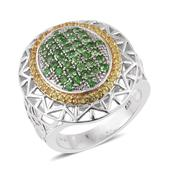 Tsavorite Garnet, Yellow Sapphire 14K YG and Platinum Over Sterling Silver Openwork Ring (Size 9.0) TGW 2.61 cts.