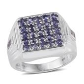 Catalina Iolite, White Topaz Platinum Over Sterling Silver Signet Cluster Men's Ring (Size 13.0) TGW 2.95 cts.
