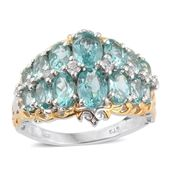Mint Apatite, White Zircon 14K YG and Platinum Over Sterling Silver Openwork Cluster Ring (Size 5.0) TGW 5.75 cts.