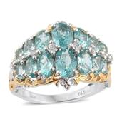 Mint Apatite, White Zircon 14K YG and Platinum Over Sterling Silver Openwork Cluster Ring (Size 8.0) TGW 5.75 cts.