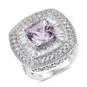 Urukun Kunzite, White Topaz Platinum Over Sterling Silver Ring (Size 9.0) TGW 8.510 cts.