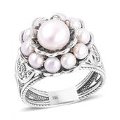 Freshwater Pearl Sterling Silver Ring (Size 8.0) (7.2 g)