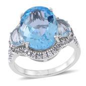 Sky Blue Topaz, White Zircon Sterling Silver Ring (Size 5.0) TGW 15.00 cts.