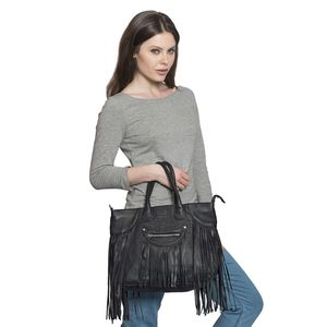 Black 100% Genuine Leather RFID Tote Bag with Fringe (14x4x12 in)